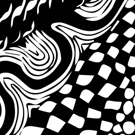 Black and white abstract zenart illustration Banque d'images - 138348780