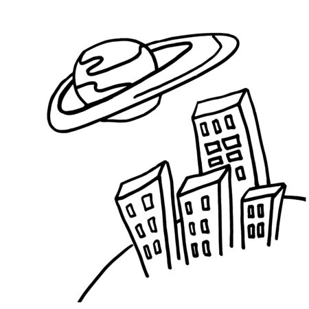 Saturn over the city black and white doodle sketch