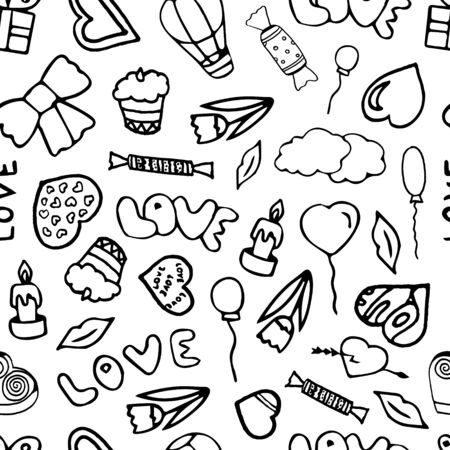 Black and white Valentines day seamless pattern.
