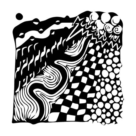 Black and white abstract zenart illustration Banque d'images - 138348818