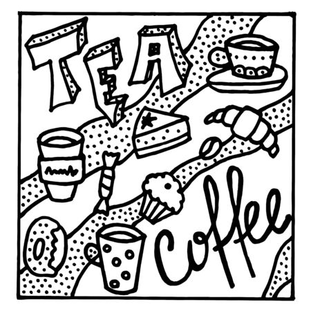 Tea and coffee black and white doodle sketch