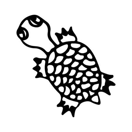 Black and wnite doodle sketch turtle illustration.