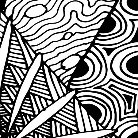 Black and white abstract zenart illustration Banque d'images - 138348855