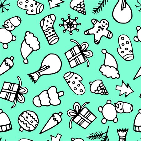 Happy New Year and Merry Xmas seamless pattern. Winter holidays background. Stock Illustratie