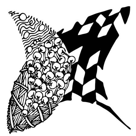 Black and white abstract zenart illustration Banque d'images - 138348881