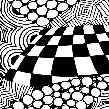 Black and white abstract zenart illustration Banque d'images - 138348927