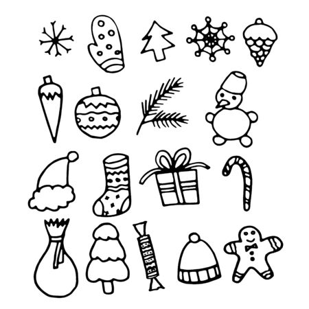 Hand drawn black and white doodle sketch illustration. New year and Christmas set. Ilustracja