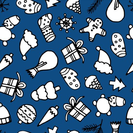 Happy New Year and Merry Xmas seamless pattern. Winter holidays background. Illusztráció