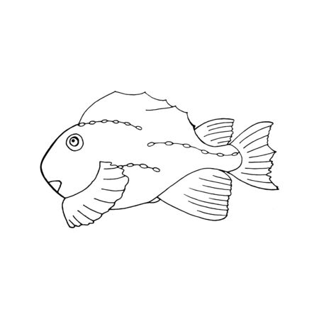 Black and white fish doodle sketch illustration. Underwater world. Hand-drawn sea and ocean animals. Fish silhouette on a white background.