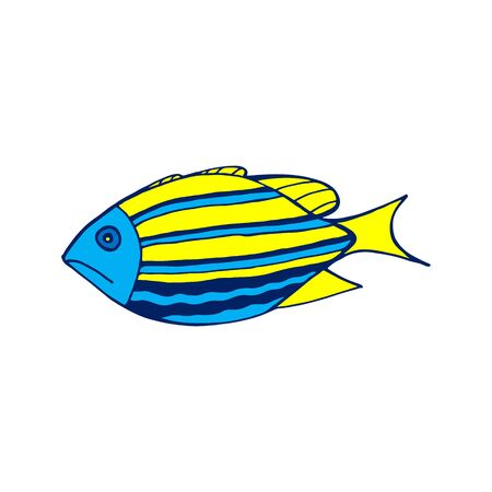 Vector colored sea fish llustration on white background. Doodle sketch cartoon underwater worlds isolated object for panorama, print, shirt, kid, baby, swimming pool, game, app and stickers.