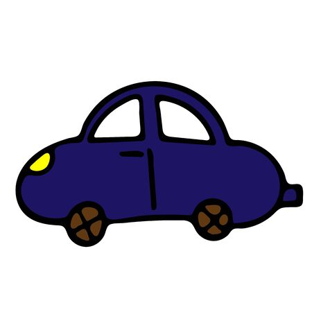 Blue Car Vector Doodle Sketch. Isolated Object On White Background. Hand-Drawn Illustration For Print, T-Shirt, Card, Design, Game And App. Illusztráció