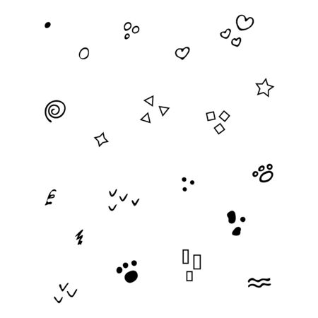 Hand-Drawn Isolated black elements for decorations and patterns on white background.