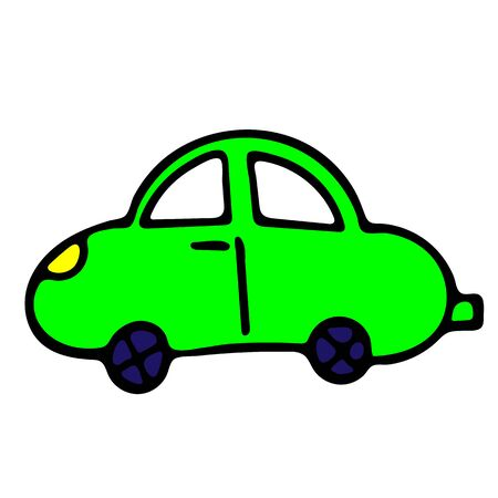 Neon Green Car Vector Doodle Sketch. Isolated Object On White Background. Hand-Drawn Illustration For Print, T-Shirt, Card, Design, Game And App.