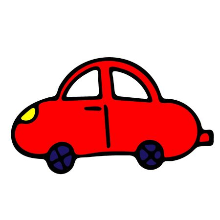 Red Car Vector Doodle Sketch. Isolated Object On White Background. Hand-Drawn Illustration For Print, T-Shirt, Card, Design, Game And App.