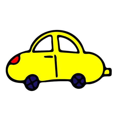 Car Vector Doodle Sketch. Isolated Object On White Background. Hand-Drawn Illustration For Print, T-Shirt, Card, Design, Game And App. Illusztráció