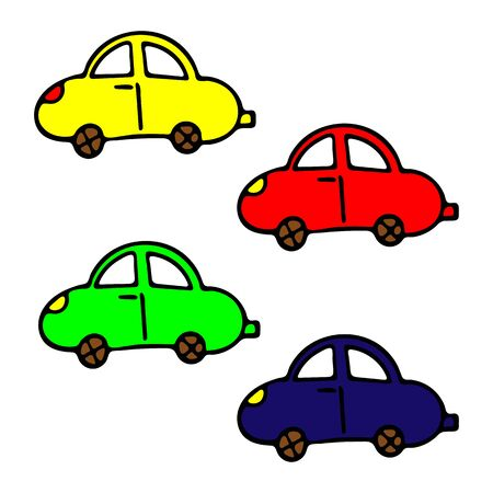 Set Of Colored Car Vector Doodle Sketch. Isolated Object On White Background. Hand-Drawn Illustration For Print, T-Shirt, Card, Design, Game And App.