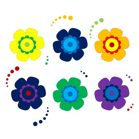 Colored Set of Isolated Flat Vector Flower. Collection of Icon Flower For Holiday, Design, India, Oriental and Arabic Ornament, Print, Web and App.