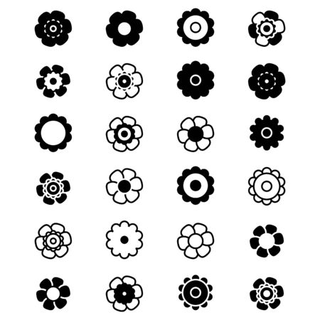 Black And White Set of Isolated Flat Vector Flower. Collection of Icon Flower For Holiday, Design, India, Oriental and Arabic Ornament, Print, Web and App.
