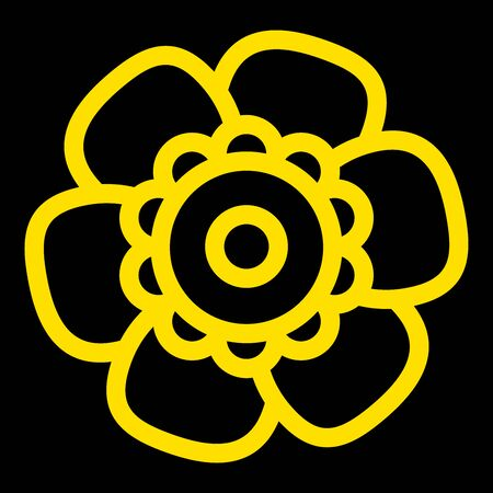 Gold Single Isolated Flat Vector Flower on Black Background. Icon Flower For Holiday, Design, India, Oriental and Arabic Ornament, Print, Web and App.