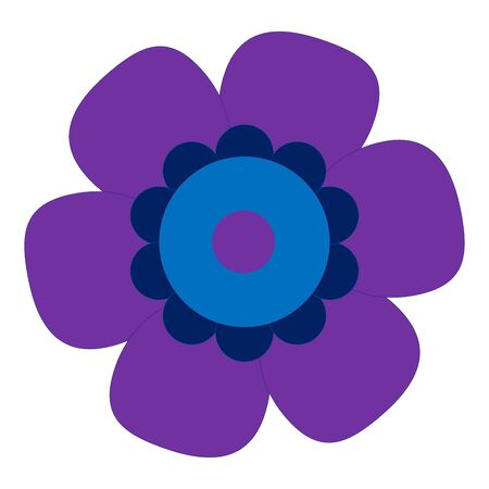 Colored Single Isolated Flat Vector Flower. Icon Flower For Holiday, Design, India, Oriental and Arabic Ornament, Print, Web and App. Иллюстрация