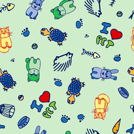 Hand-Drawn Colorful Seamless Pattern of Domestic Animals. Vector Doodle Sketch Cute Illustration. Pets For Design, Print, T-Shirt, Web, Game, App, Card And Logo.