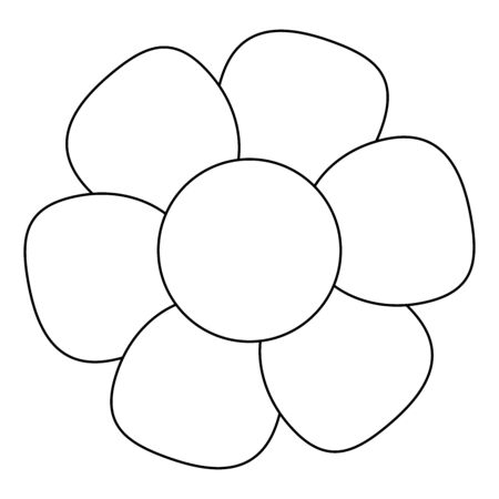 Black And White Single Isolated Flat Vector Flower. Icon Flower For Holiday, Design, India, Oriental and Arabic Ornament, Print, Web and App.
