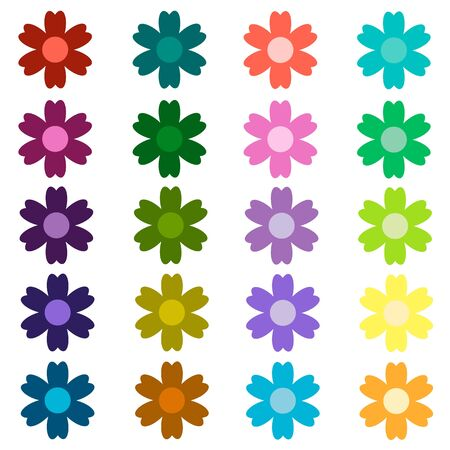 Colored Set of Isolated Flat Vector Flower. Collection of Icon Flower For Holiday, Design, India, Oriental and Arabic Ornament, Print, Web and App. Vector Illustration