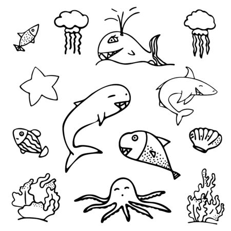 Set of isolated black and white fish, starfish and jellyfish. Isolated objects on white background. Inhabitants of the underwater world for game, app, banner, swimming pool, print, kids and stickers.