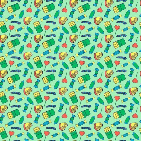 Vector Seamless pattern with candy. Repeat pattern design. With chocolate, lollipop, sweet and caramel on background. Hand-drawn pattern for wrapping, fabric, birthday, holiday and design. Ilustracja