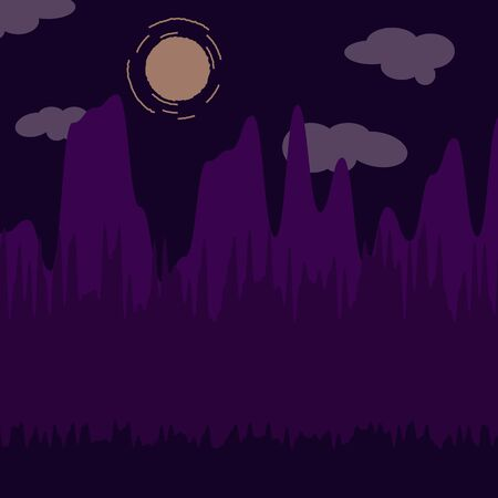 Mountains and Forest at night landscape flat vector illustration. Nature scenery with trees and hill peaks silhouettes on horizon. Scene cartoon background. Flat concept. Website template. UI design.