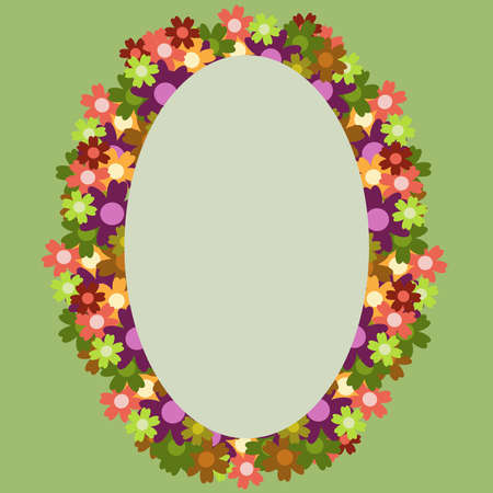 Colored simple flower bouquet on green background. Frame with decoration. Card for wedding, birthday, holiday. Vector backdrop illustration.