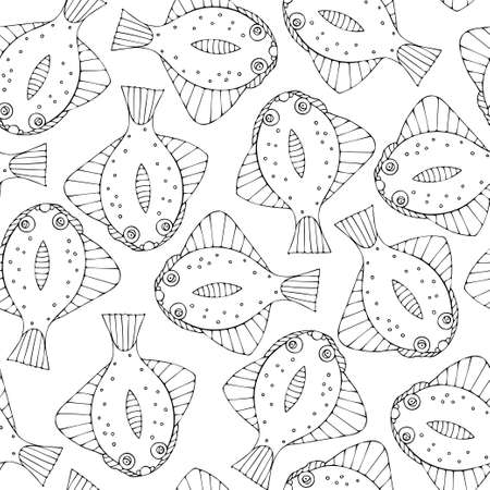 Seamless pattern with black and white fish. Repeat pattern design for print, wallpaper, wrapping paper, cover, textile.