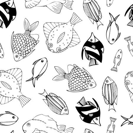 Seamless pattern with black and white fish. Repeat pattern design for print, wallpaper, wrapping paper, cover, textile. Vector Illustration