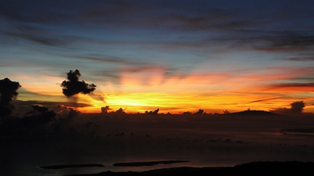 vulcano sunset indonesia lombok gunug rinjani mountain photo