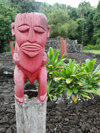 tahitian: Tahitian sculpture on holy place near papeete