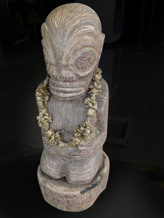 tahitian: Tahitian sculpture on holy place near papeete isolated
