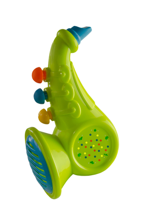 Saxophone for kids, plastic,colorful on an isolated background