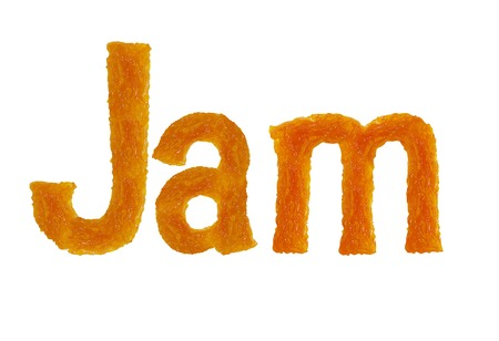 molasses: Apricot jam, word jam, isolated on white background