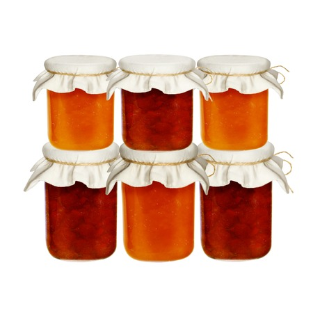 Jars of jam isolated on a white background. from fruits and berries.