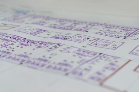 building planners: Construction plans. Architecture background Stock Photo