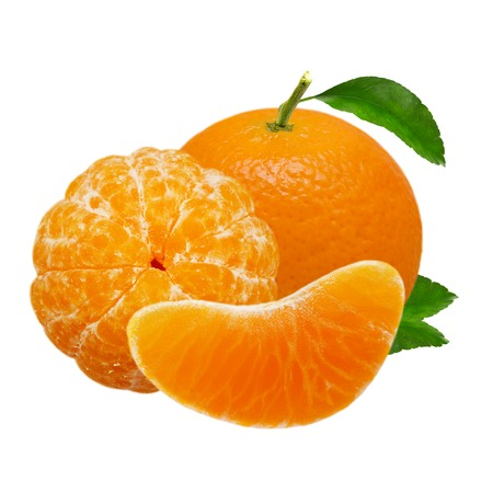 Tangerine orange fruits isolated on white background with clipping path