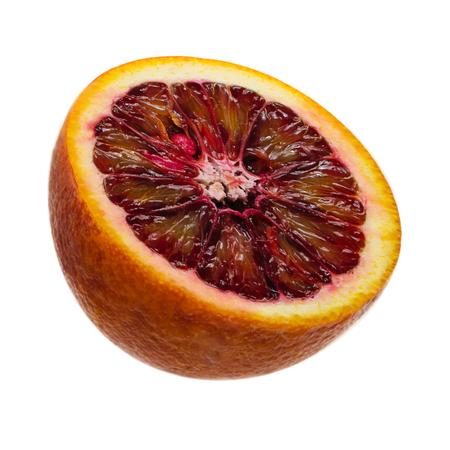 sweet segments: Juicy slice of Sicilian orange fruit isolated on white background. clipping path.
