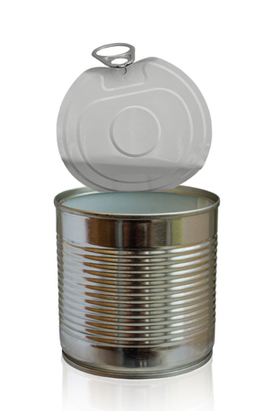 opened empty food metal can isolated on white Banque d'images