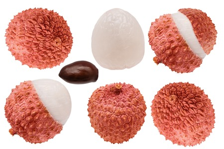 Isolated collection lychees. Set of whole and cut lychee fruits isolated on white background with. Clipping path