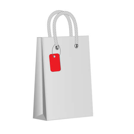 soft sell: White paper package on a white background. Red label. Blank paper bag . Mock up. 3d