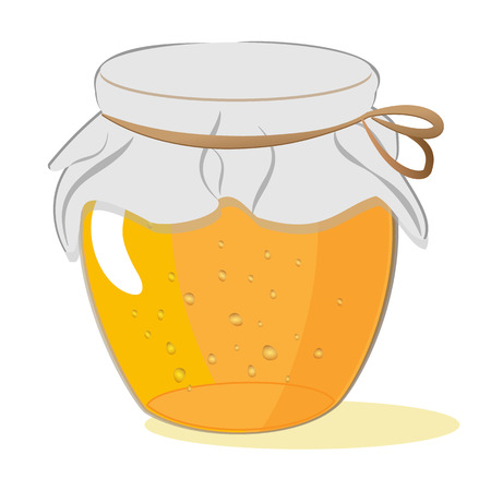 Bank of honey or jam isolated on white background, vector