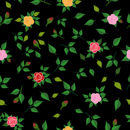 Flowery Roses on a black background. Floral seamless background for textile, book covers, manufacturing, print, fabric. Illustration