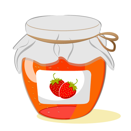 Jar of strawberry jam on a white background. Vector Vettoriali