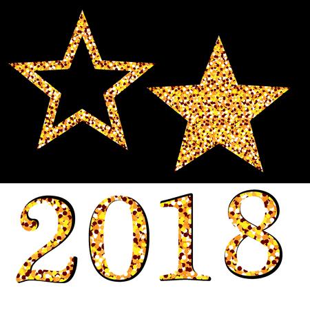 starfall: Golden star vector banner on white, black background. Gold glitter star. Gold template star New year, Christmas, 2018g