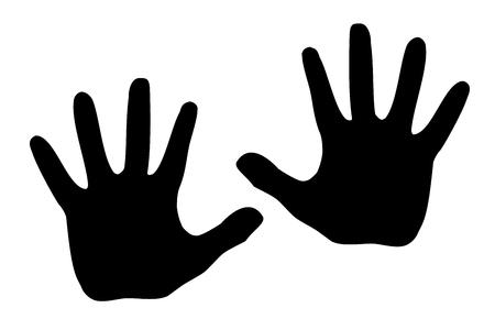 Black silhouette model palm people.
